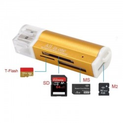Lecteur de Carte Mémoire SDHC/SD/MMC/Micro/TF  Tout en 1 USB 2.0