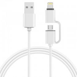 Câble 2 en 1 pour iphone et android charge et transfert de données